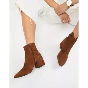 ALDO Genuine Suede Pointed Toe Block Heel Booties